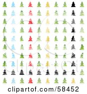 Digital Collage Of Stylized Christmas Trees