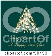 Royalty Free RF Clipart Illustration Of A Green Christmas Greeting With A Gold Tree Made Of Baubles by MilsiArt