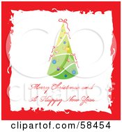 Royalty Free RF Clipart Illustration Of A Red Grunge Border Around A Christmas Tree Greeting by MilsiArt