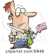 Business Man Holding A Pink Slip Clipart Illustration