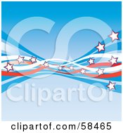 Royalty Free RF Clipart Picture Of A Blue Background With American Swooshes And Stars Version 3 by MilsiArt