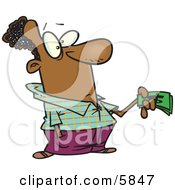 Man Holding Money While Making A Purchase Clipart Illustration