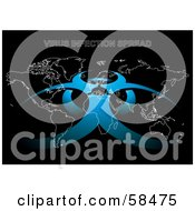 Royalty Free RF Clipart Illustration Of A Blue Biohazard Symbol Over A White Map Outline On Black by MilsiArt
