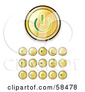 Royalty Free RF Clipart Illustration Of A Digital Collage Of Shiny Gold And Green Media Buttons