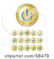 Royalty Free RF Clipart Illustration Of A Digital Collage Of Shiny Gold And Blue Media Buttons by MilsiArt