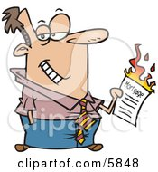 Man Burning His Mortgage Papers Clipart Illustration by toonaday