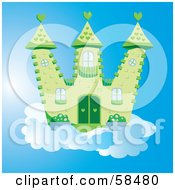 Green Fantasy Castle With Heart Designs On A Cloud In The Blue Sky