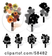 Royalty Free RF Clipart Illustration Of A Digital Collage Of Black And Colorful Trees With Circular Paint Stroke Foliage