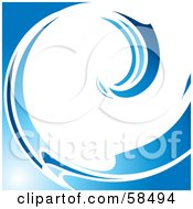 Royalty Free RF Clipart Illustration Of A White And Blue Curling Wave Background