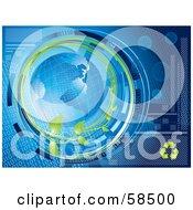 Blue Binary Globe Circled By Organic Vines And Binary Code - Version 1