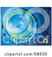 Royalty Free RF Clipart Illustration Of A Blue Binary Globe Circled By Organic Vines And Binary Code Version 1