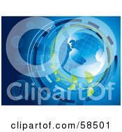 Royalty Free RF Clipart Illustration Of A Blue Binary Globe Circled By Organic Vines And Binary Code Version 2