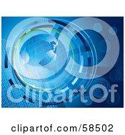 Blue Binary Globe Circled By Green And Binary Code