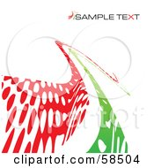 Royalty Free RF Clipart Illustration Of A Curvy Green And Red Line Background With Sample Text