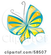 Royalty Free RF Clipart Illustration Of A Beautiful Blue Orange And Yellow Fluttering Butterfly