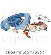 Man Overwhelmed And Being Squished With An Email Symbol Clipart Illustration