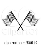 Royalty Free RF Clipart Illustration Of A Couple Of Crossed Racing Fags Version 1