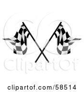 Royalty Free RF Clipart Illustration Of A Couple Of Crossed Racing Fags Version 3