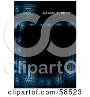 Royalty Free RF Clipart Illustration Of A Black Vertical Background With Sample Text And Blue Futuristic Waves