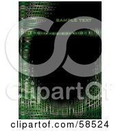 Royalty Free RF Clipart Illustration Of A Black Vertical Background With Sample Text And Green Futuristic Waves