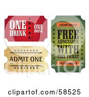 Royalty Free RF Clipart Illustration Of A Digital Collage Of Three Ticket Stubs