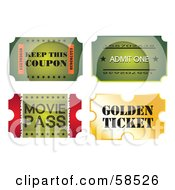 Royalty Free RF Clipart Illustration Of A Digital Collage Of Four Ticket Stubs