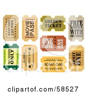 Royalty Free RF Clipart Illustration Of A Digital Collage Of Nine Ticket Stubs