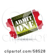 Royalty Free RF Clipart Illustration Of A Red And Green Admit One Ticket Stub