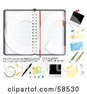 Royalty Free RF Clipart Illustration Of A Digital Collage Of A Planner And Bulletin Items by MilsiArt