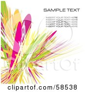Royalty Free RF Clipart Illustration Of A Green And Pink Watercolor Stroke Background With Sample Text Version 3