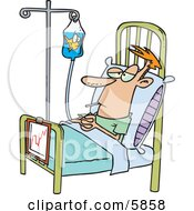 Hospital Patient In A Bed A Fish In His IV Container Clipart Illustration by toonaday