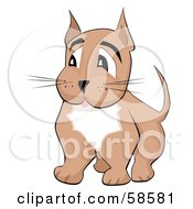 Royalty Free RF Clipart Illustration Of A Brown Doggy With A White Chest Looking To The Left