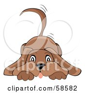 Royalty Free RF Clipart Illustration Of A Brown Doggy Resting His Head On His Paws And Wagging His Tail by MilsiArt #COLLC58582-0110