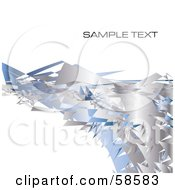 Chrome And Blue Metal Shard Wave With Sample Text On White