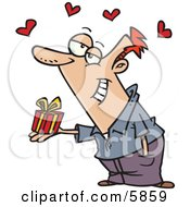 Caucasian Man Holding A Valentines Day Gift Hearts Above His Head Clipart Illustration