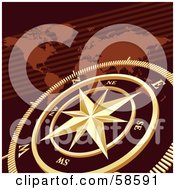 Royalty Free RF Clipart Illustration Of A Golden Compass Over A Brown Atlas by MilsiArt
