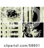 Royalty Free RF Clipart Illustration Of A Digital Collage Of Four Four Beige And Black Grunge Backgrounds