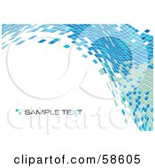 Royalty Free RF Clipart Illustration Of A Blue Tile Wave Mosaic Background With Sample Text Version 2
