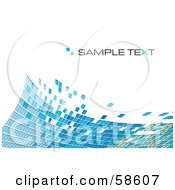 Royalty Free RF Clipart Illustration Of A Blue Tile Wave Mosaic Background With Sample Text Version 4