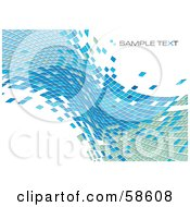 Royalty Free RF Clipart Illustration Of A Blue Tile Wave Mosaic Background With Sample Text Version 5
