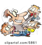 Father Horse Playing With His Three Sons Clipart Illustration by toonaday