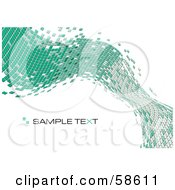 Royalty Free RF Clipart Illustration Of A Green Tile Wave Mosaic Background With Sample Text Version 1