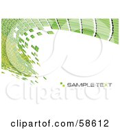 Royalty Free RF Clipart Illustration Of A Green Tile Wave Mosaic Background With Sample Text Version 2