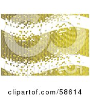 Royalty Free RF Clipart Illustration Of A Gold Tile Wave Mosaic Background Version 2