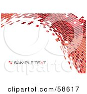 Royalty Free RF Clipart Illustration Of A Red Tile Wave Mosaic Background With Sample Text Version 1