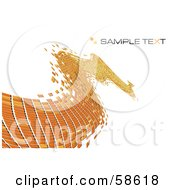 Royalty Free RF Clipart Illustration Of An Orange Tile Wave Mosaic Background With Sample Text Version 1