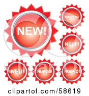 Royalty Free RF Clipart Illustration Of Red New Button Labels In Different Languages by MilsiArt