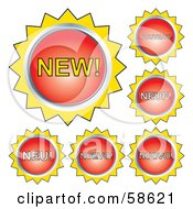 Royalty Free RF Clipart Illustration Of Red And Yellow New Button Labels In Different Languages by MilsiArt