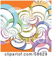 Royalty Free RF Clipart Illustration Of A Retro Background Of Colorful Spirals And Orange Waves On White