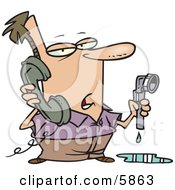 Man With A Leaky Pipe Calling A Plumber Clipart